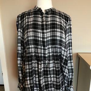 GAP black and white plaid flannel tunic